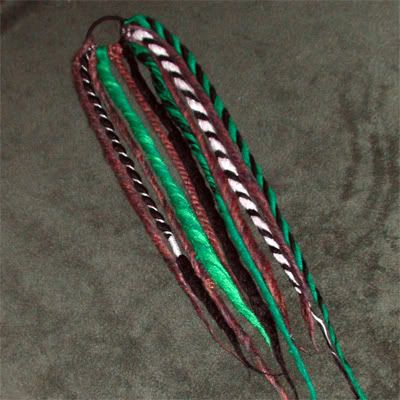 dread falls - brushed acrylic yarn. These would make great hair for costume or prop!