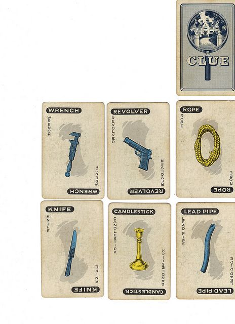 Vintage Clue game cards (weapons)