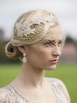 Stunning Gold French Net Veil With Lace Appliques