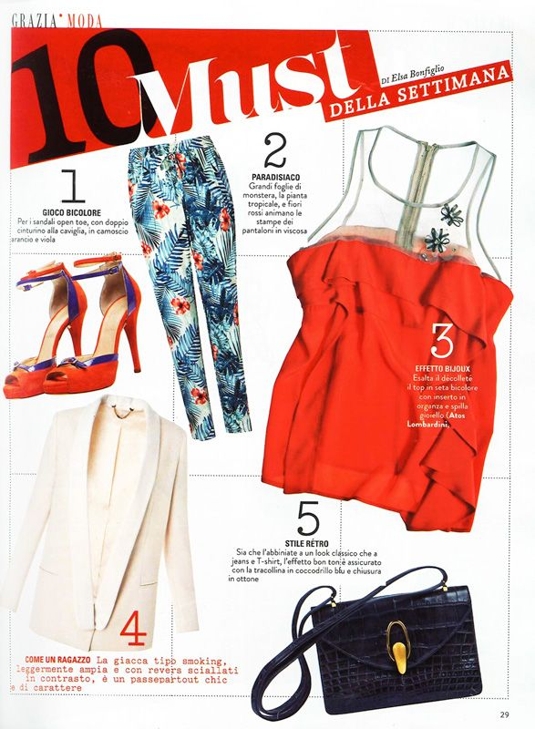 GRAZIA Italia - May 2013.   #Red top with double #brooch by #AtosLombardini.