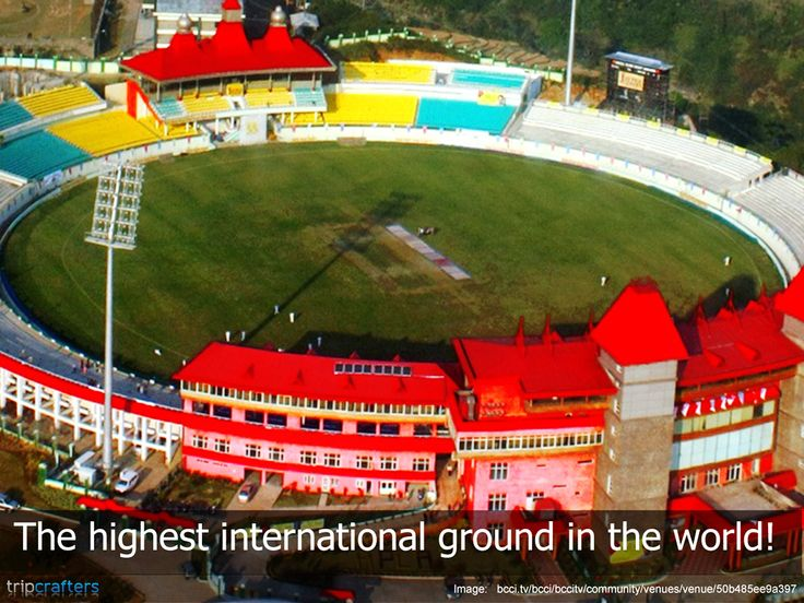 HPCA Stadium Stadium (Himachal Pradesh Cricket Association Stadium) in the city of Dharamshala is situated at an altitude of 1,457 m (4,780 ft 2 in) above sea level. It has the spectacular snow capped Himalayan mountains in the background.  #HimachalPradesh | #India | #Cricket | #Himalayas