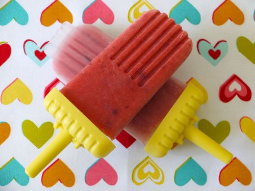 Peach & Strawberry Popsicles (Makes 6 Popsicles)    2 Ripe Peaches, pitted;    1 Cup Strawberries, stems removed;    2 Tbsp Honey;    1/2 Cup Milk (any variety works)    1. Place all of the ingredients in a blender and puree.    2. Pour into popsicle molds and freeze for at least 3 hours.    3. Serve.