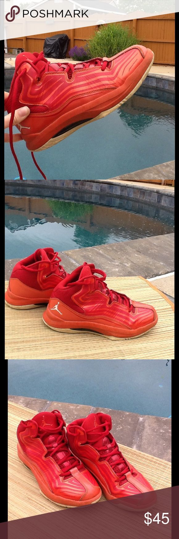 RED YOUTH JORDANS ON SALE!! Good condition, no stains or scuffs! Make an offer!!🎊 Jordan Shoes Sneakers