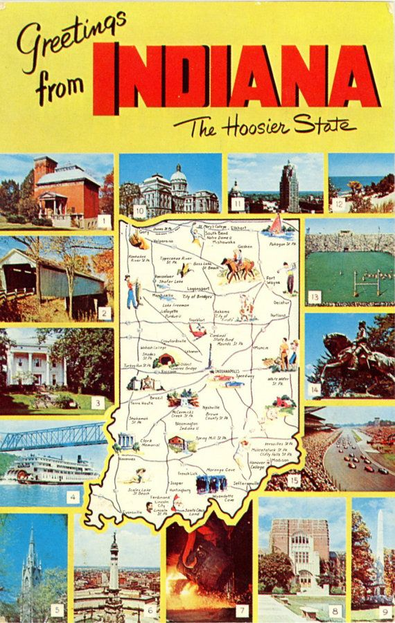 Indiana Multi View State Map Vintage Chrome