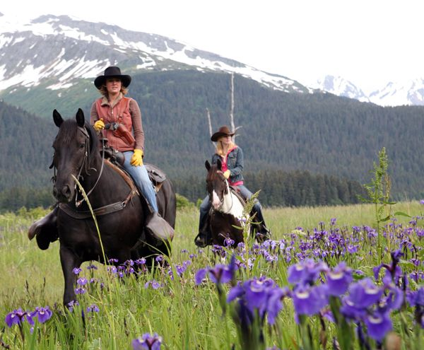Kenai Peninsula in Alaska –– pick a strong horse for this ride. You never know when you'll run into bears. I'm being led by Bree Bardarson on her mighty horse Max. The Seward area and the Kenai are yet, another pretty and natural place to explore.