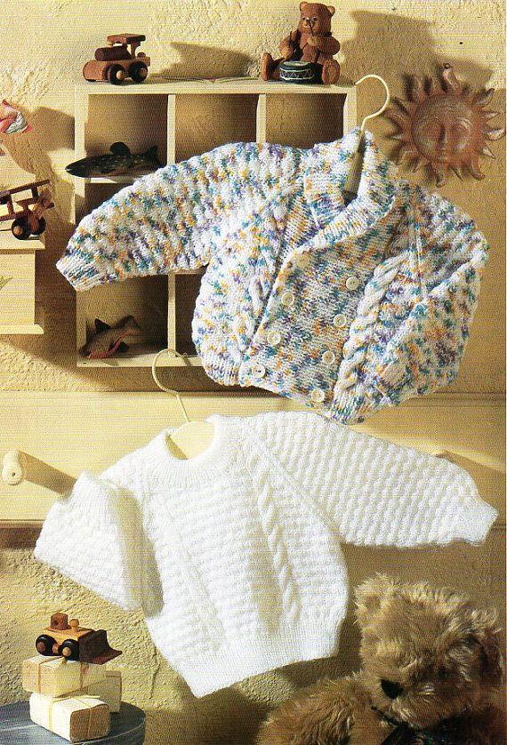 8e3f68d91 B8452 Baby jacket sweater knitting pattern PDF cardigan jumper cable ...