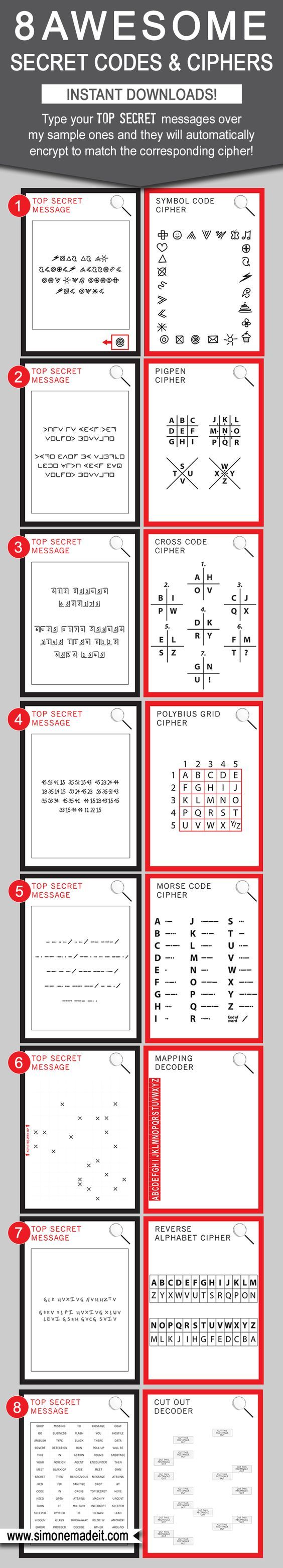 8 Awesome DIY Secret Codes for Kids - Type your own Top Secret message into the template and it will automatically encrypt to match the Cipher! Great as Spy Party games / activities, for playdates or even in the school classroom as code breaking games $6.50 via SIMONEmadeit.com: