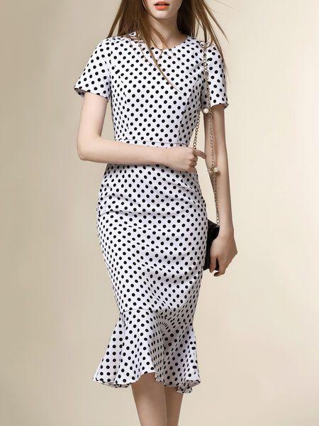 Dot Print Ruffled Midi Dress