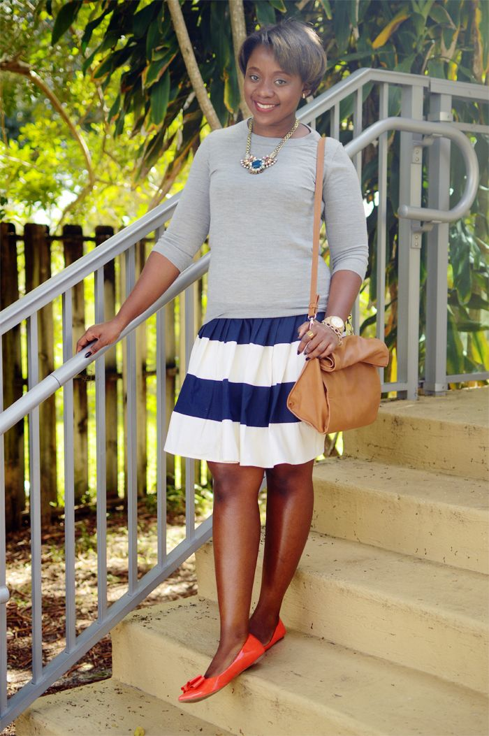 sweatrt and full stripes skirt outfit 1 Bows & Stripes