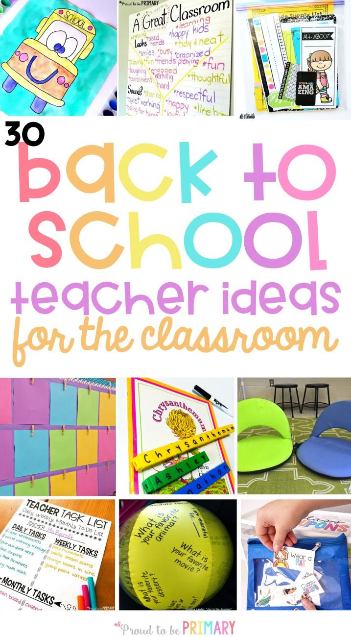 30 back to school teacher ideas for the classroom. Plan your first days with engaging activities for kids, community building ideas, classroom management tricks, organizational tips, and more! via @proud2beprimary