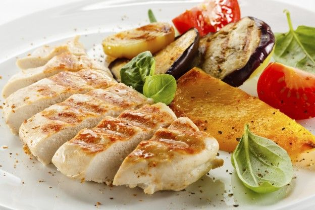 GRILLED CHICKEN A delicious one-plate meal, simply grill a chicken breast in a non-stick pan. Serve with salad and steamed vegetables. Don't forget to add spices and some fresh lemon to give the chicken extra flavor.