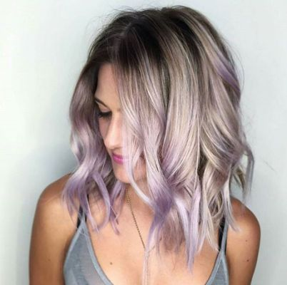 ... | Lavender hair highlights,