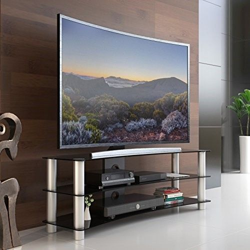 Fitueyes Universal Tv Stand With Curved Tempered Glass Suit For 32