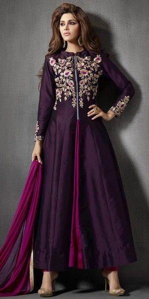 Lavishing Purple Silk Anarkali Suit With Chiffon Dupatta.