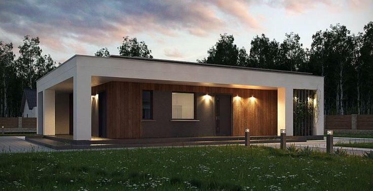 Zx76 D to parterowy budynek z płaskim dachem bez garażu. Posiada duże przeszklenia i zadaszenia nad częścią wejściową i ogrodową.