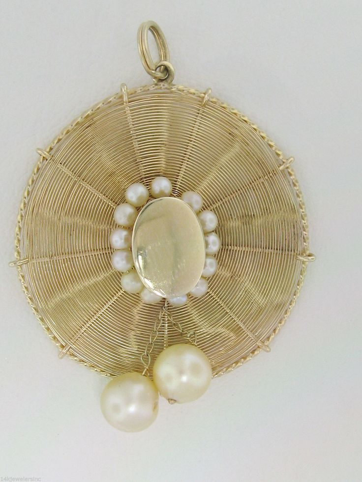14k Yellow Gold 3D Woven Ladies Sun Hat with Pearl Accent Pendant | eBay..