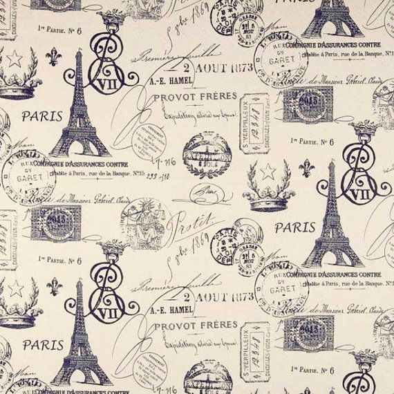 Paris Fabric, Navy Eiffel Tower, Navy Blue And Ivory French Script Fabric, French Document, Yardage, (1/2) Yard 18'' Length 56'' Width