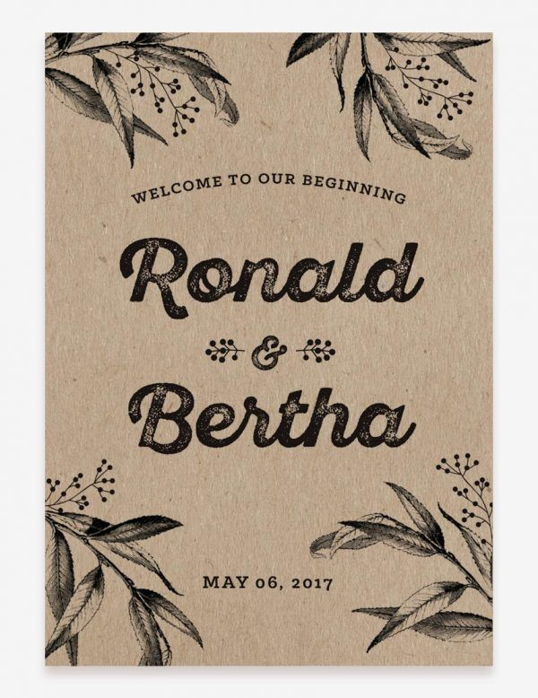 Rustic wedding welcome sign. Rustic reception decoration. Get this printable design at www.inatondesign.com
