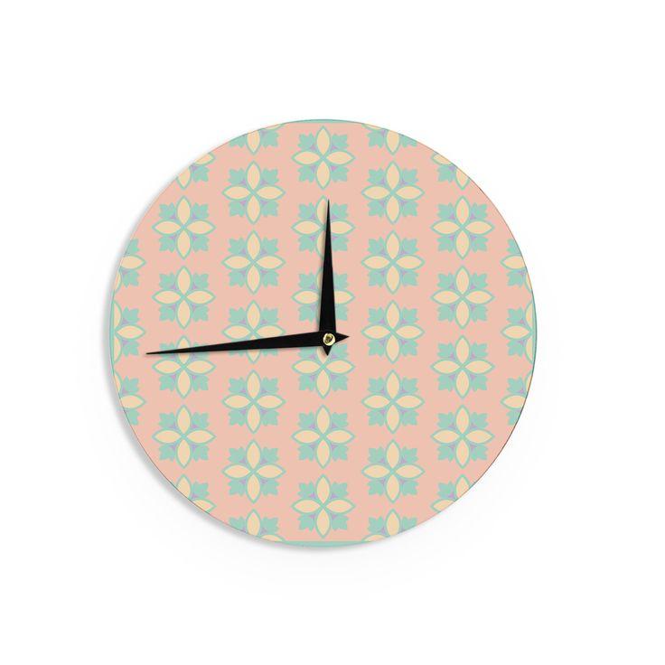"Deepti Munshaw ""Pattern #1"" Green Beige Wall Clock"