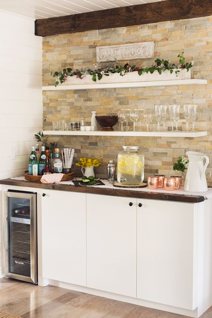 25 best ideas about beverage stations on pinterest for Built in drinks cabinet