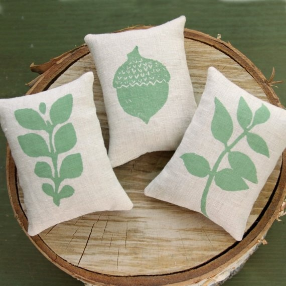 A trio of block printed linen sachets: Each adorned with a block printed sage symbol of autumn, and filled with fragrant organic lavender.