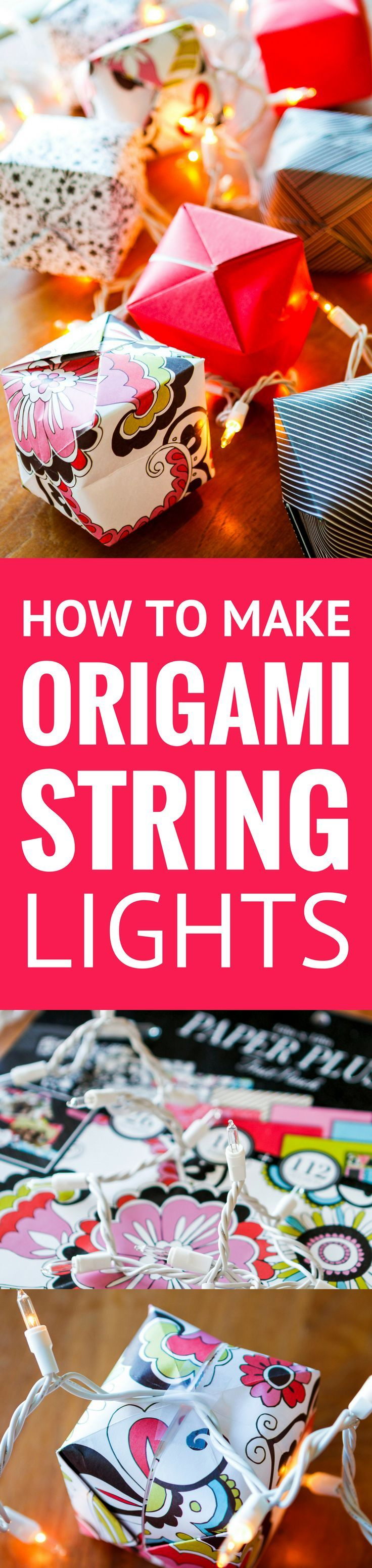 How To Make Origami Lights -- transform the classic Chinese water bomb into origami light covers to create these gorgeous origami string lights, a beautiful and festive lighting option! Not just for Chinese New Year, they're a great option for indoor or outdoor parties, weddings, baby showers, Christmas, you name it... | origami lights diy | origami lights shade | origami lights covers | origami lights awesome | origami lights awesome #chinesenewyear #papercrafts #origami #paperart