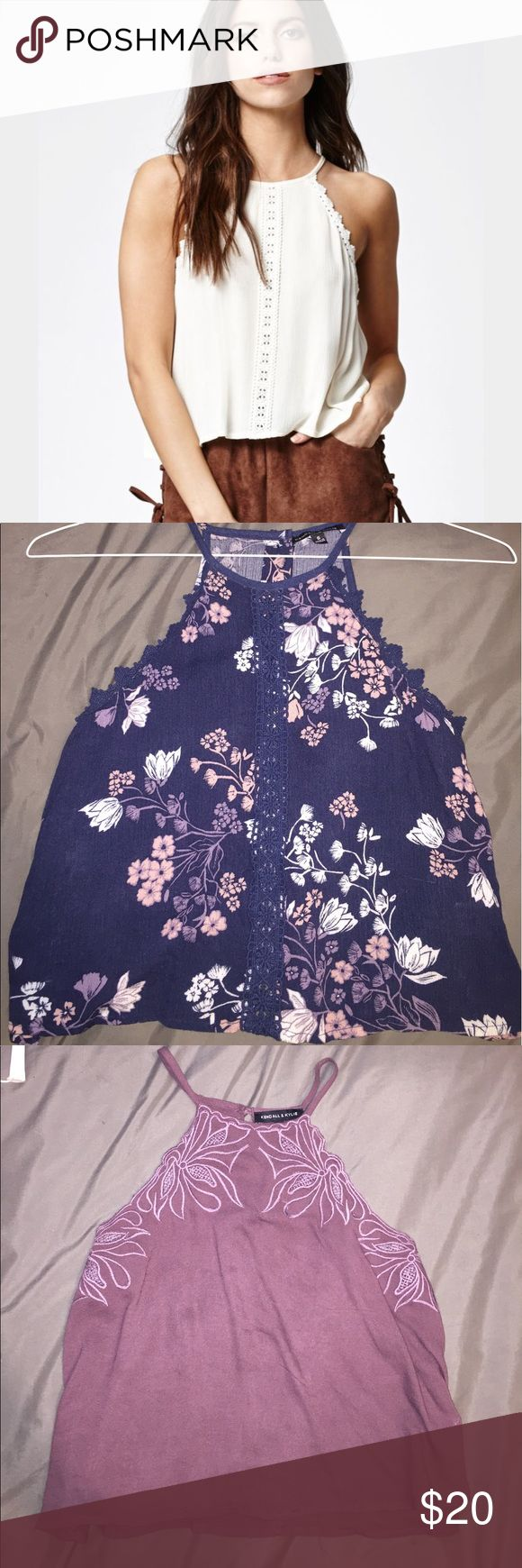 High neck blouses Model pic to show cut and fit. I have this in navy floral and a beautiful wine/mauve.  Can bundle both for 35 or sell separately for 20 each. PacSun Tops Blouses