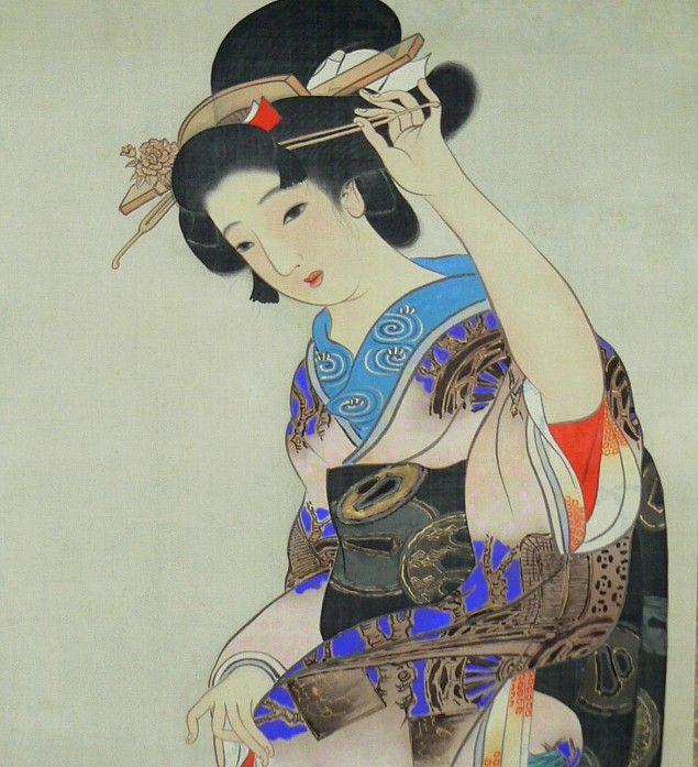 Красавица на прогулке, японский рисунок, цветная тушь, 1880-е гг.