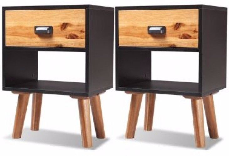 Set of 2 Retro Style Bedside Cabinets Compact Side Lamp Table Vintage Wood Black