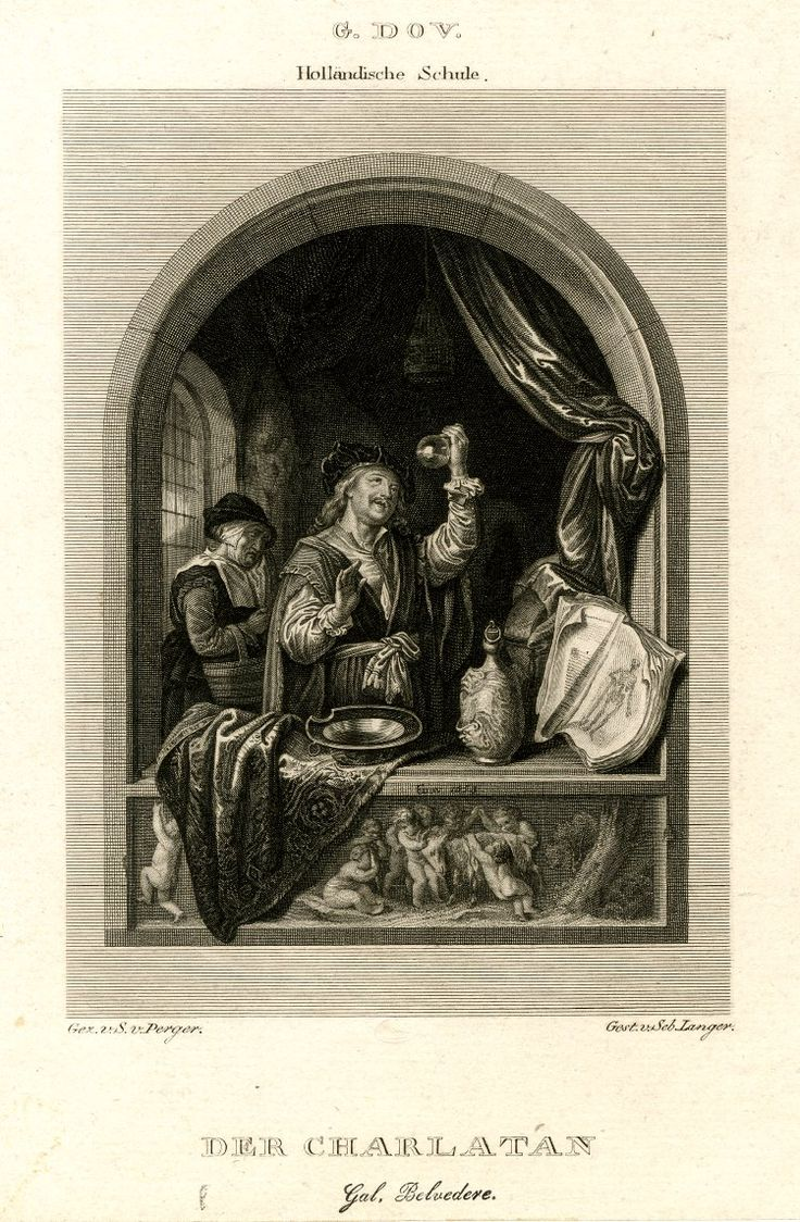De charlatan. ca. 1821-1828. Prent naar Gerard Dou's de Dokter. Prent door: Sebastian Langer. British Museum, London.