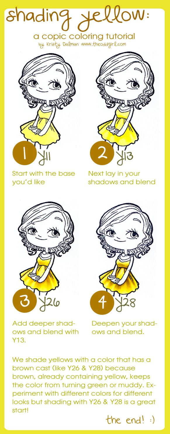 shading yellow: Alcohol Markers, Copic Tutorial, Coloring Copics, Copic Colouring, Copic Markers, Shading Yellow, Copic Tips, Copic Techniques