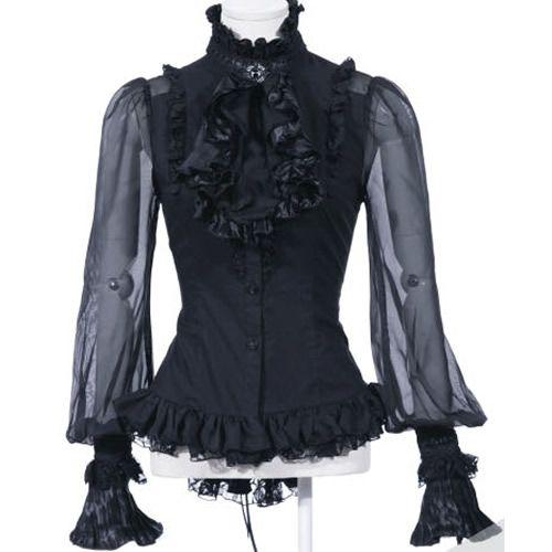 Sexy Women Black Gothic Victorian Style Long Sleeve Shirts Clothing SKU-11407093