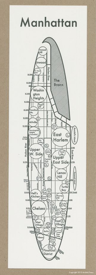 A map of Manhattan by Archie Archambault.