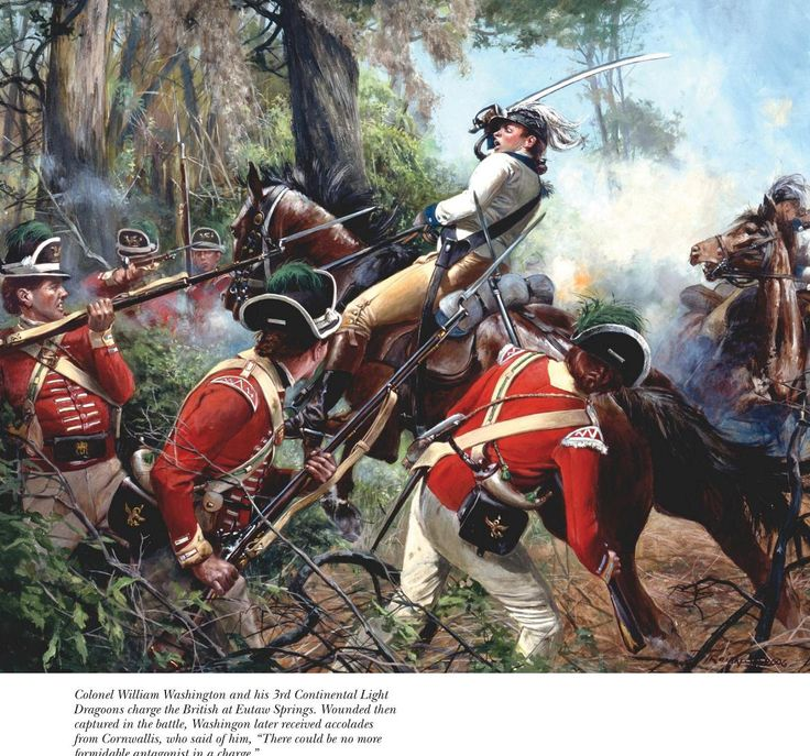 American Dragoons Charging At British Infantry In A Battle Of 1781, Which  Occurred In South