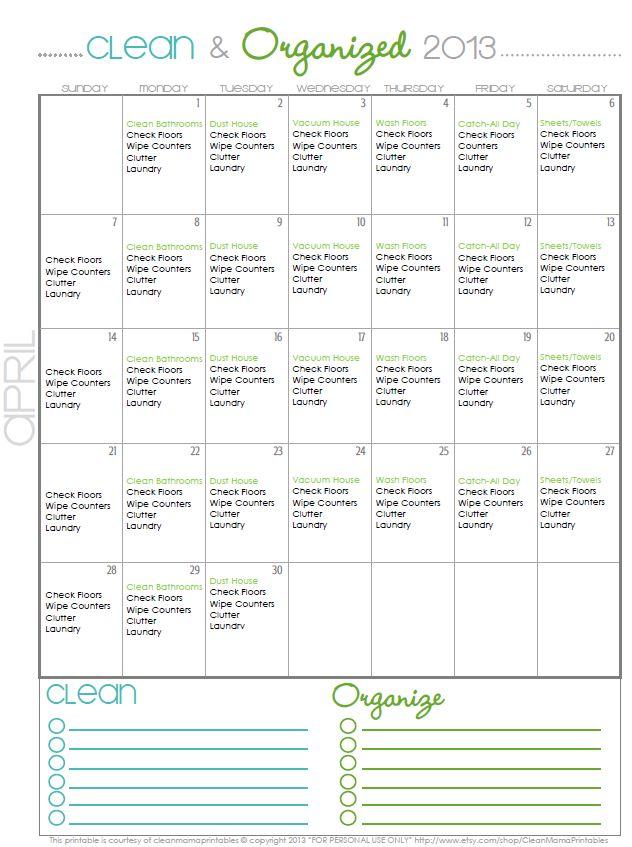 Monthly Organizing Calendar : Best ideas about cleaning calendar on pinterest