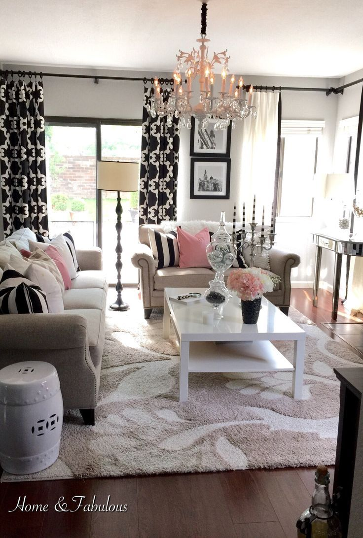 Black White and Pink Living Room Inspiration