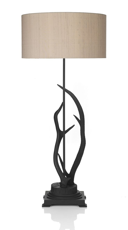 David Hunt ANT4298 Antler Black Table Lamp - Ivory silk shade.