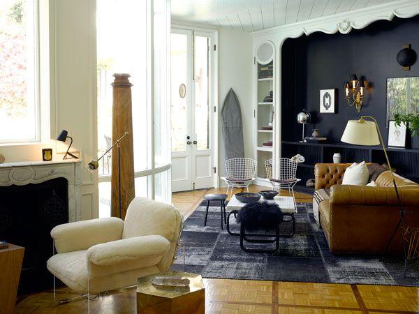 Nate Berkus home - Creamy walls and black accents