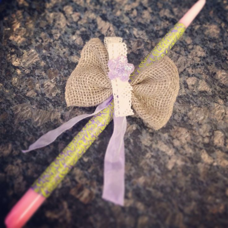 Lace headband on Easter candle. Perfect for a little girls keepsake!
