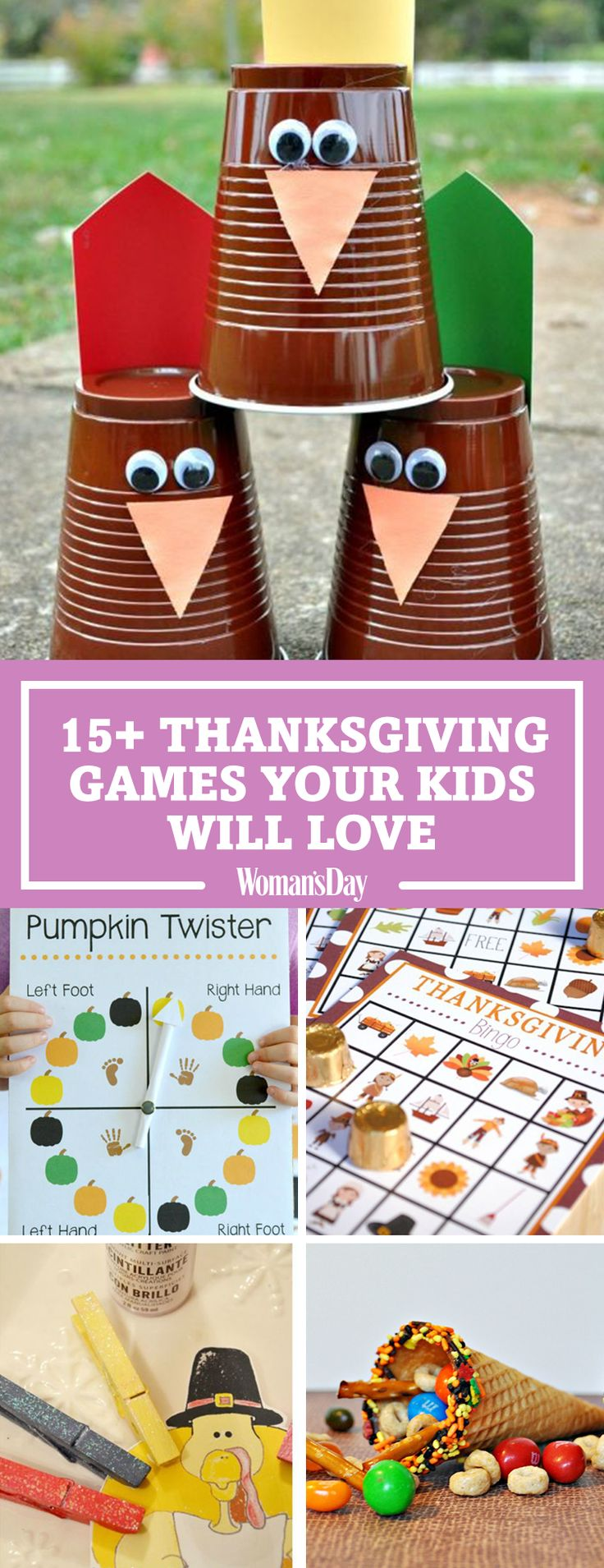 Save these great Thanksgiving games your kids will lovefor later! Don't forget tofollow Woman's Day on Pinterestfor more great ideas for kids.