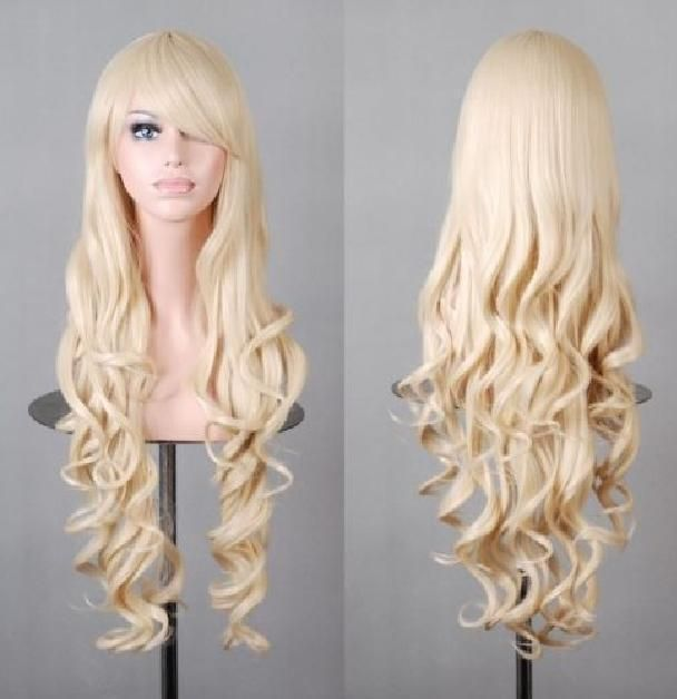 Harajuku 80cm Long Blonde White Curly Wave Cosplay Anime Synthetic Party Wigs #Unbranded #Wavy