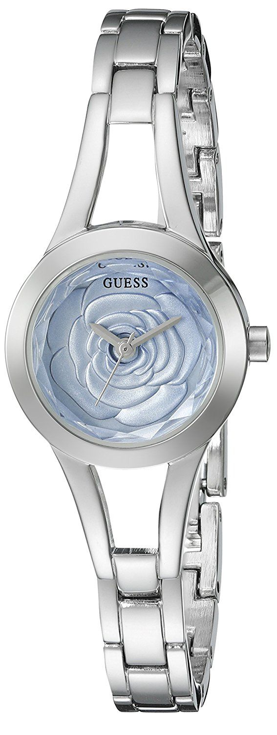 GUESS Women's U0733L1 Silver-Tone Watch with Petal Design Dial and Self-Adjustable Links ** Learn more by visiting the image link.