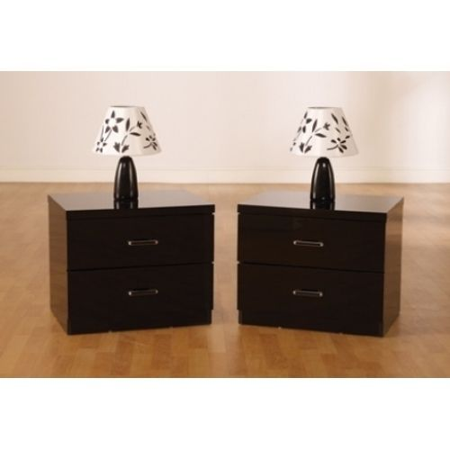 Charisma High Gloss 2 Drawer Bedside Cabinet  Black   Kelseystore £55 ebay