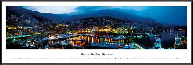 Monte Carlo Skyline Panoramic Picture Framed, Monaco