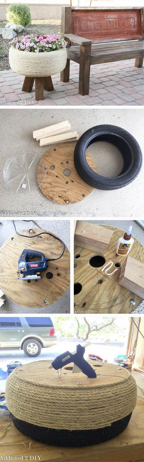 DIY macetero con rueda y cuerda