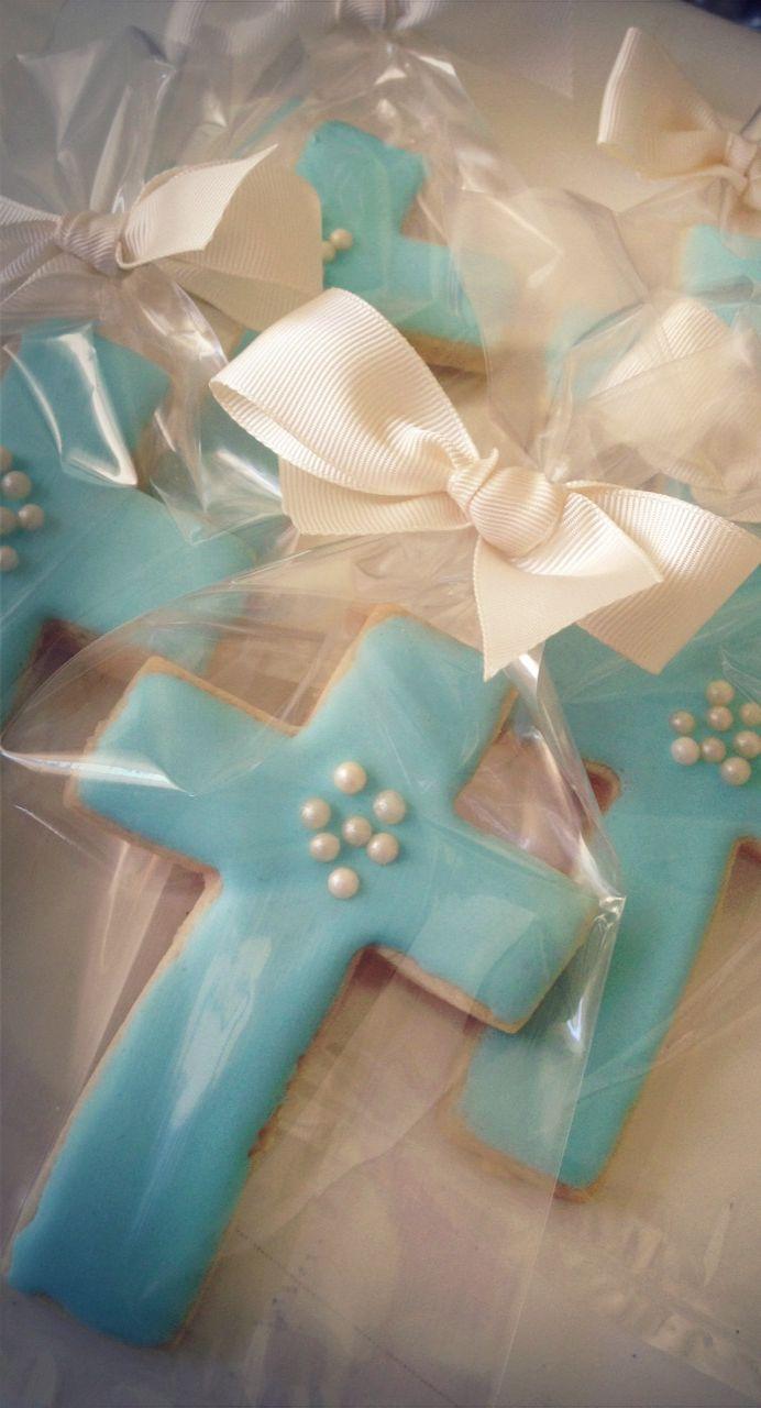 Baptism Cross Cookies in Tiffany Blue by Fancy Batter http://www.facebook.com/fancybatter