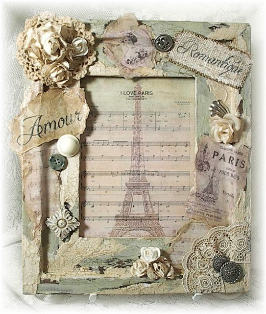 Image detail for -... Wood Frame w/Vintage Images -- Shabby Vintage & Romantic French Chic Más