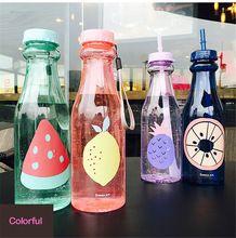 Garrafa de água de plástico livre portátil esporte lemon fruit garrafinha de agua acampamento crianças garrafa de água potável com um canudo qqb032(China (Mainland))