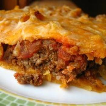 Taco Pie Recipe -add refried beans and add tomatoes/fresh salsa, use homemade
