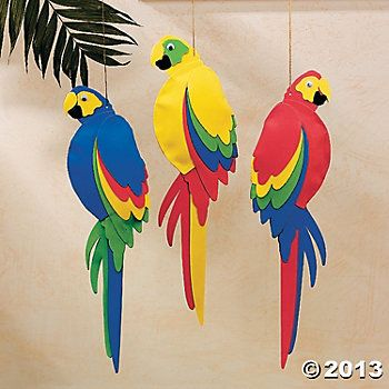 "Jumbo Parrots. Hang several of these foam parrots together for a colorful island display! These feathered friends make great ceiling or tree decorations at a luau or beach party. These jungle birds come with hangers, too. 21"" Accessories sold separately. © OTC    $16.00 Per Dozen"